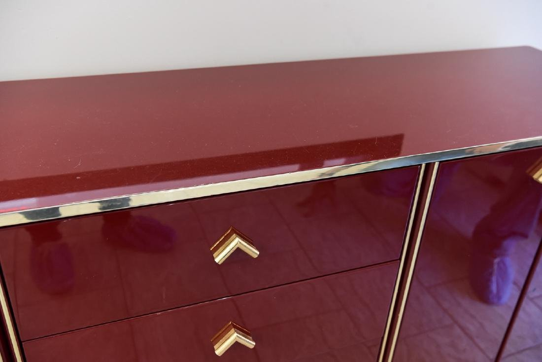 ITALIAN RED LACQUER AND BRASS SIDEBOARD/DRESSER - 4