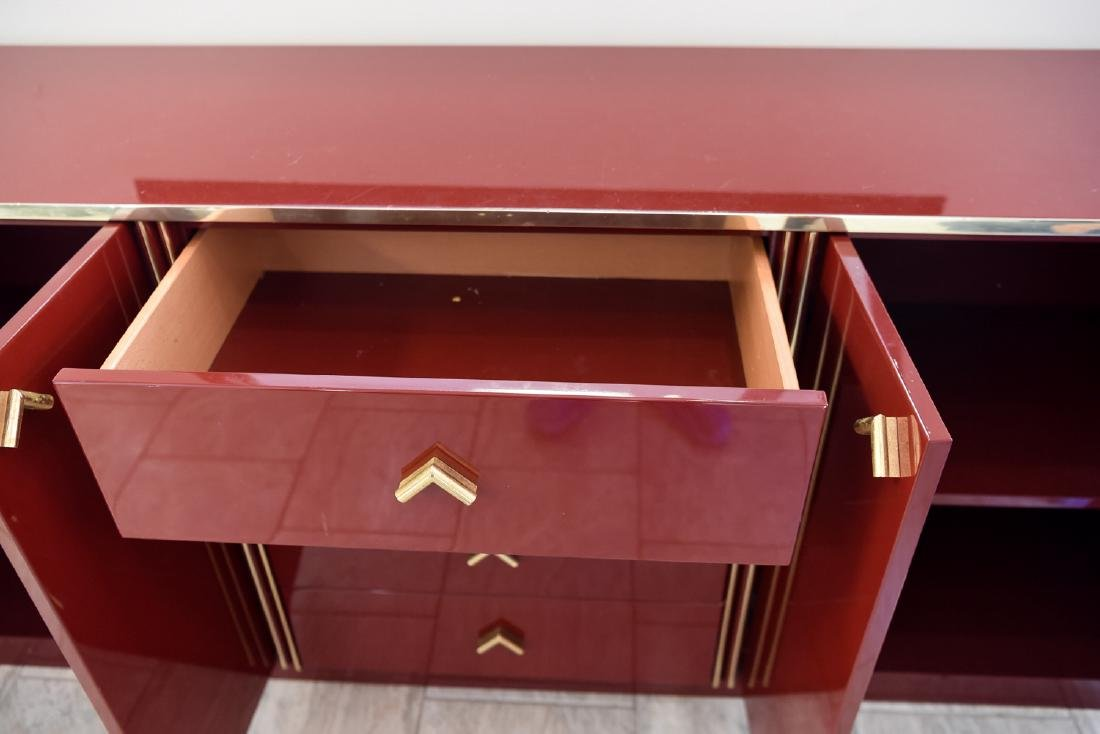 ITALIAN RED LACQUER AND BRASS SIDEBOARD/DRESSER - 7
