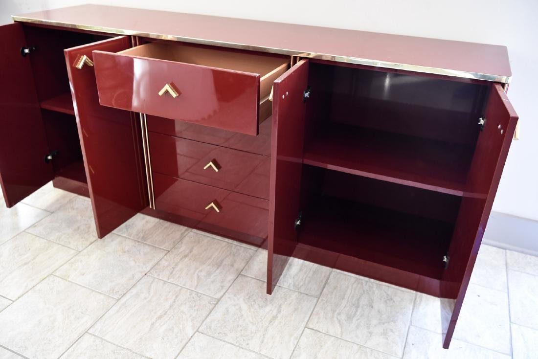 ITALIAN RED LACQUER AND BRASS SIDEBOARD/DRESSER - 8