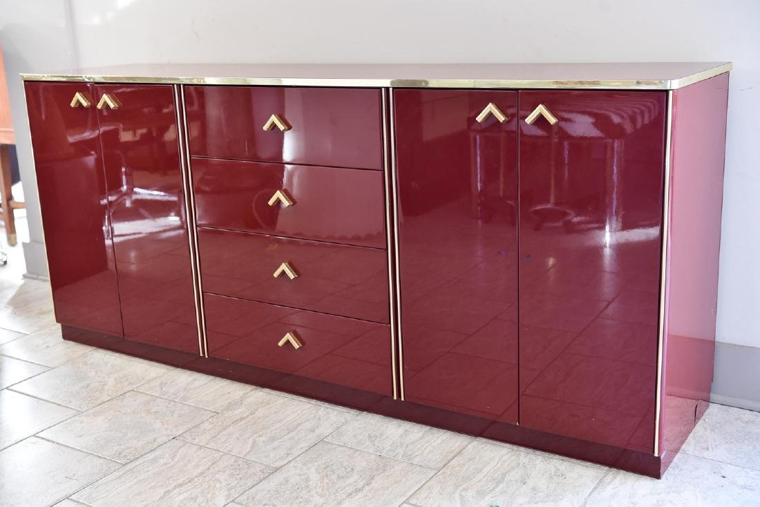 ITALIAN RED LACQUER AND BRASS SIDEBOARD/DRESSER - 9
