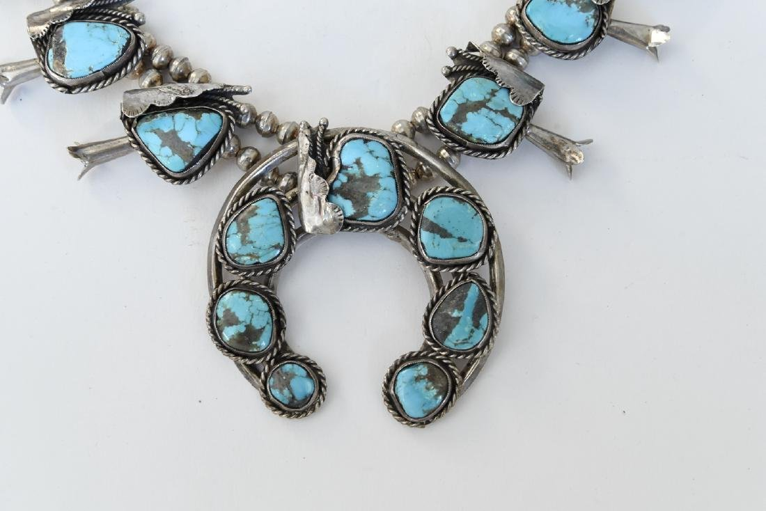 TURQUOISE AND SILVER SQUASH BLOSSOM NECKLACE - 2