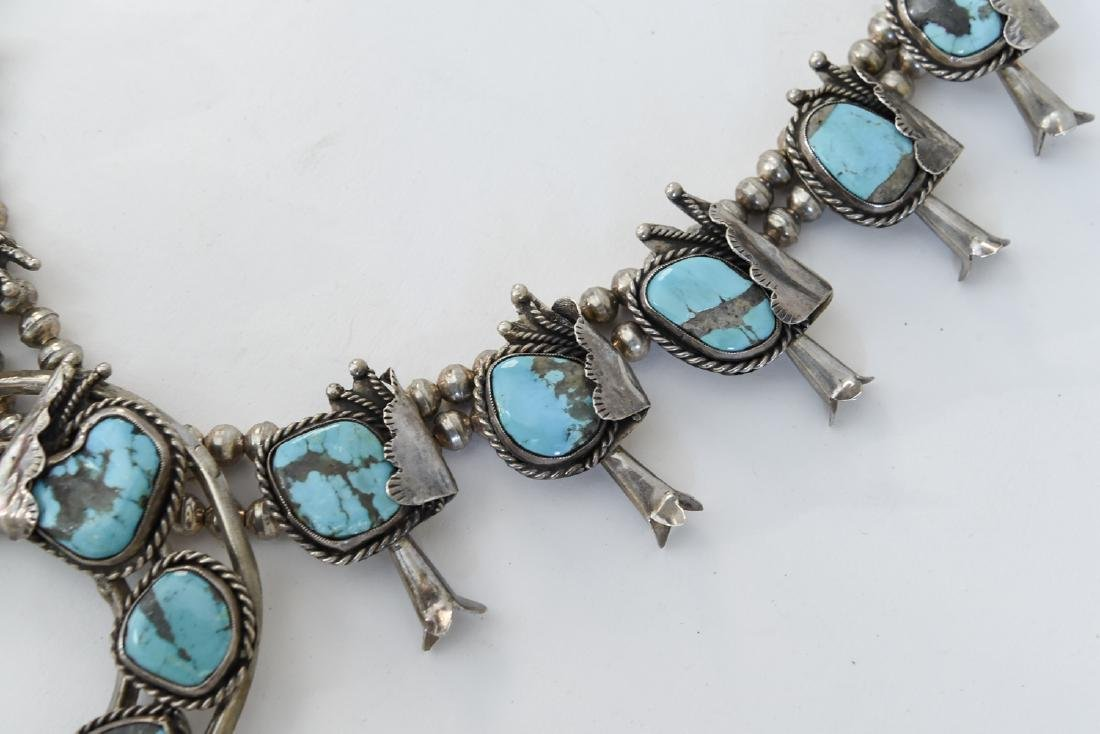 TURQUOISE AND SILVER SQUASH BLOSSOM NECKLACE - 3