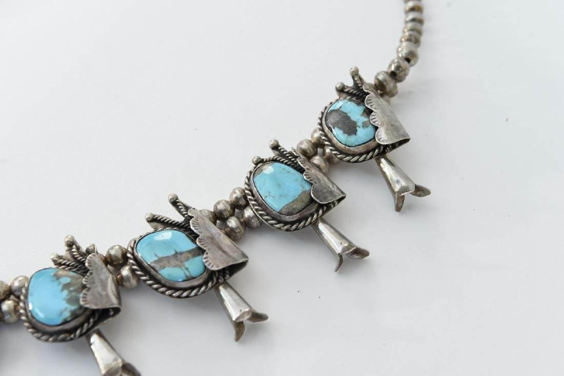 TURQUOISE AND SILVER SQUASH BLOSSOM NECKLACE - 4