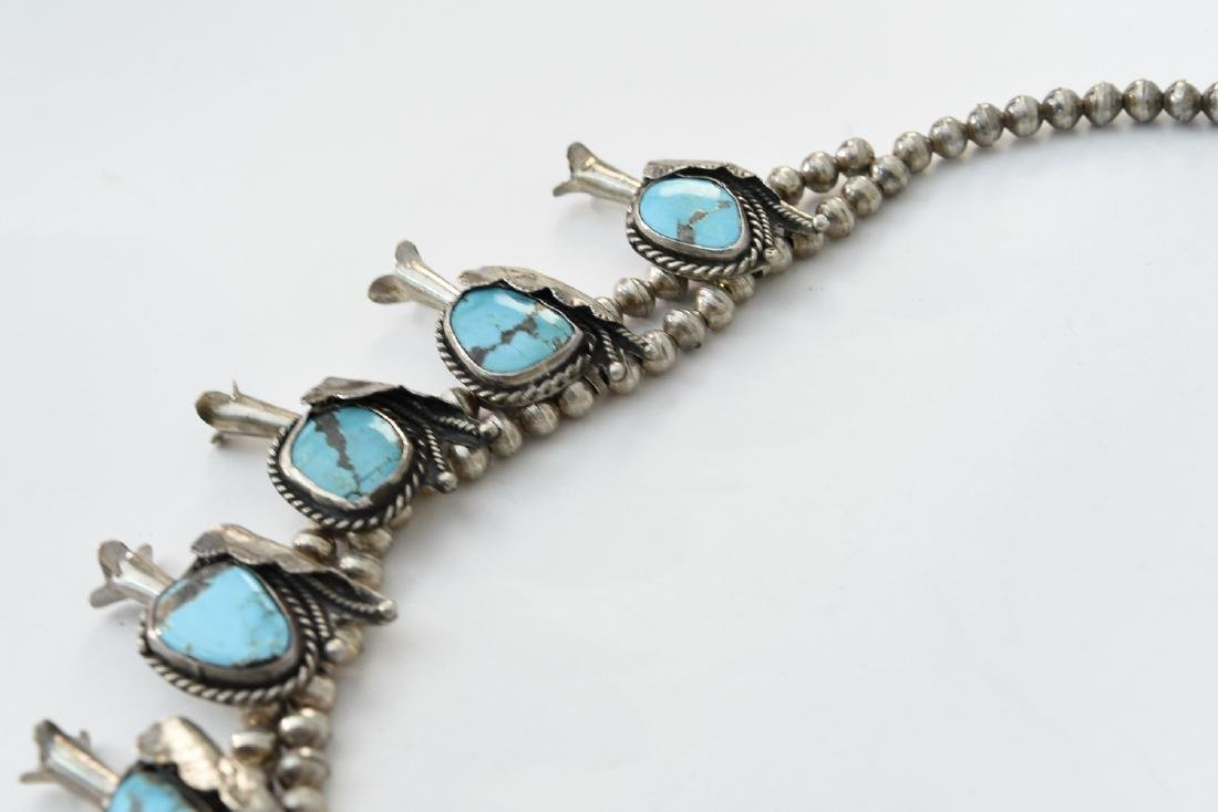 TURQUOISE AND SILVER SQUASH BLOSSOM NECKLACE - 6