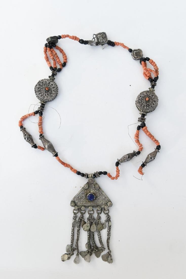 CORAL AND SILVER NECKLACE