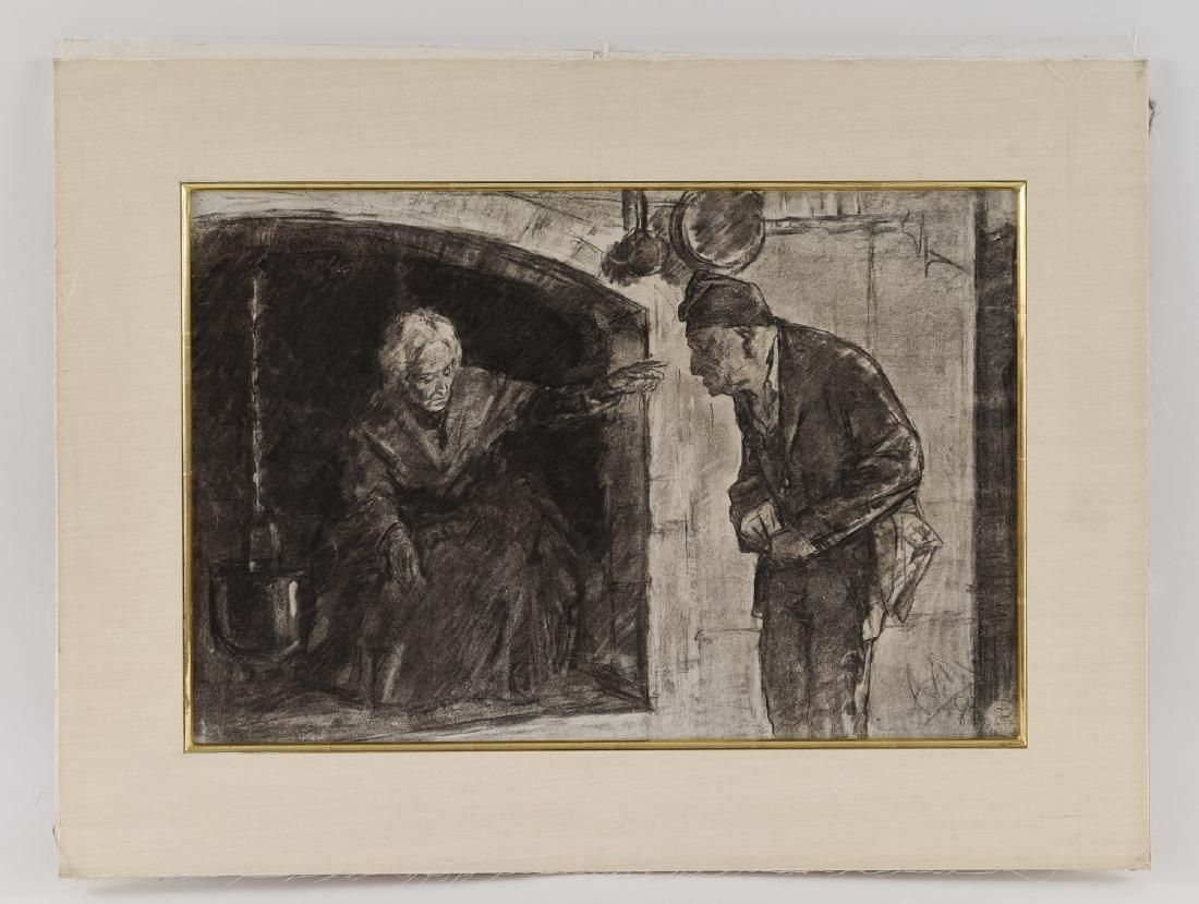 1880 GERMAN CHARCOAL DRAWING