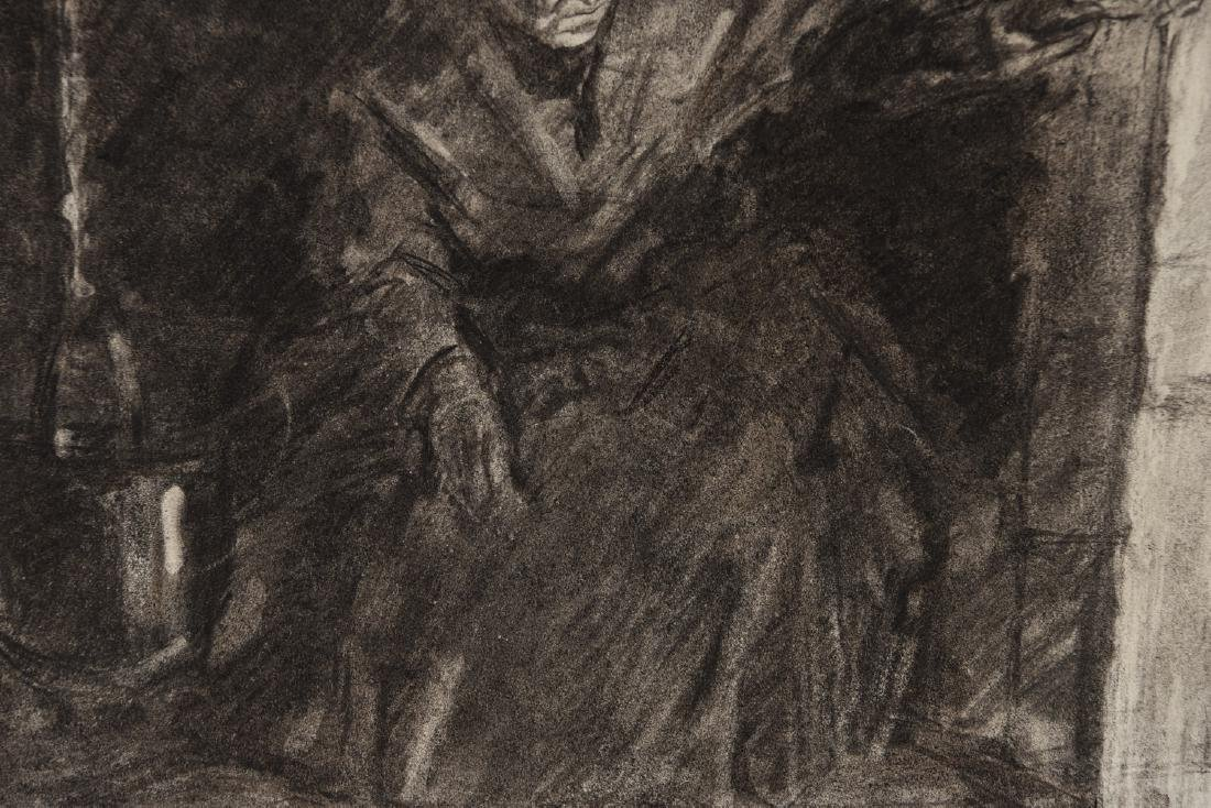1880 GERMAN CHARCOAL DRAWING - 4