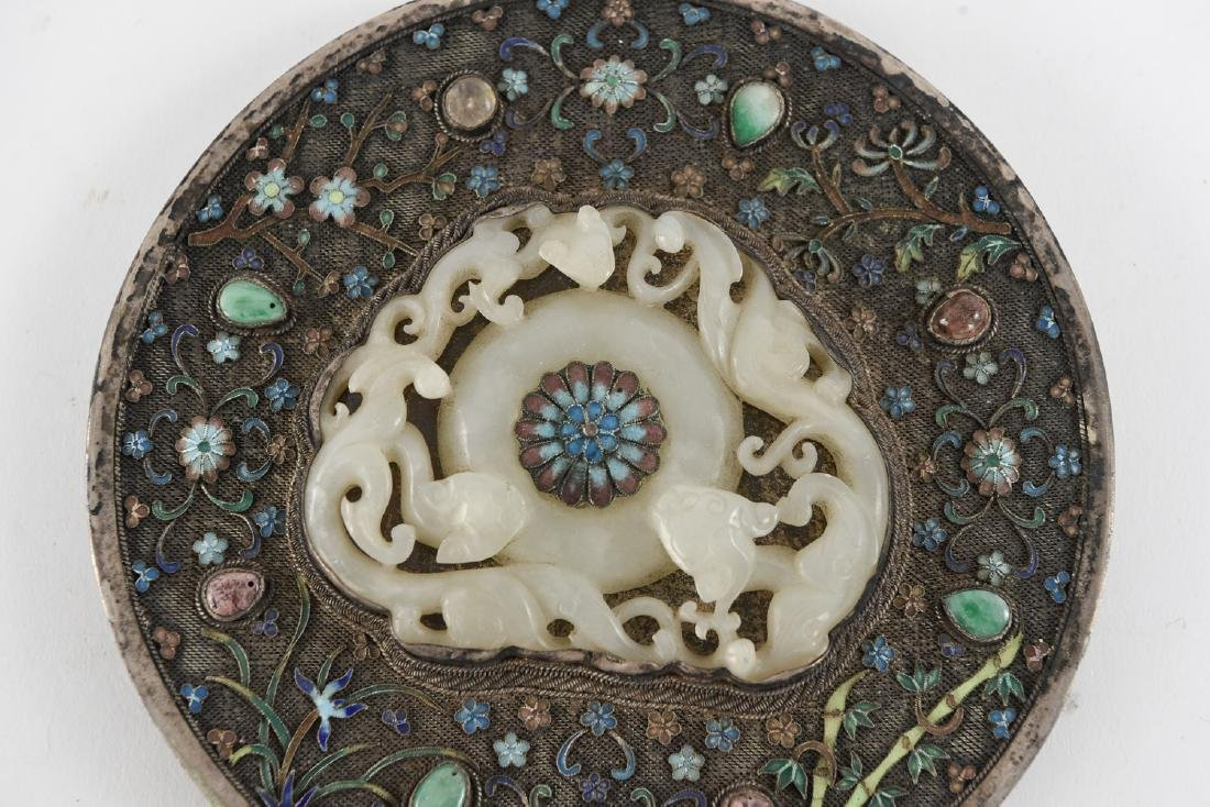 CHINESE SILVER AND JADE HAND MIRROR - 3