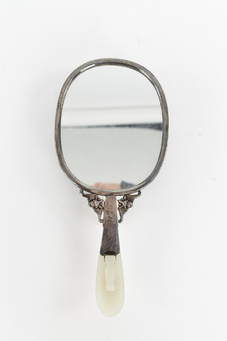 CHINESE SILVER AND JADE HAND MIRROR - 7
