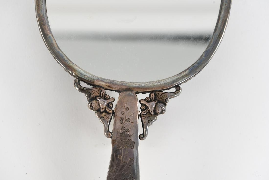 CHINESE SILVER AND JADE HAND MIRROR - 8