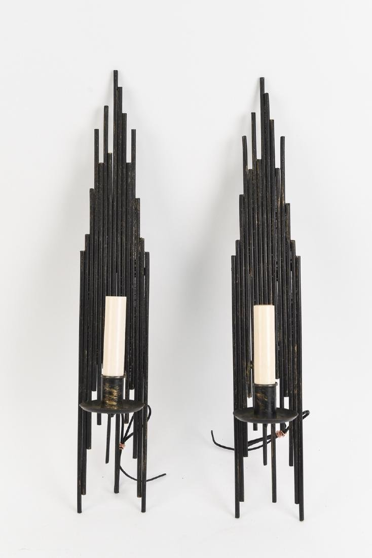 PAIR OF BRUTALIST METAL SCONCES