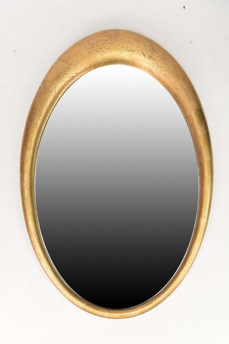 OVAL MODERNIST GILT WOOD MIRROR