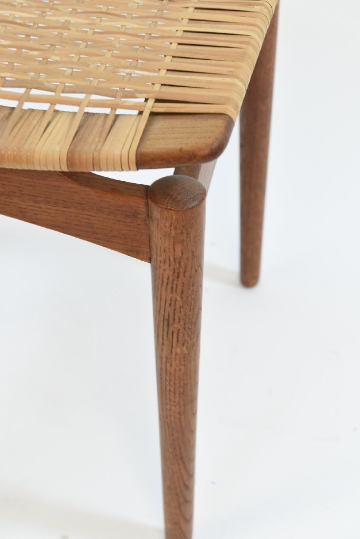 DANISH OAK & WOVEN WICKER STOOL BY OLHOLM - 6