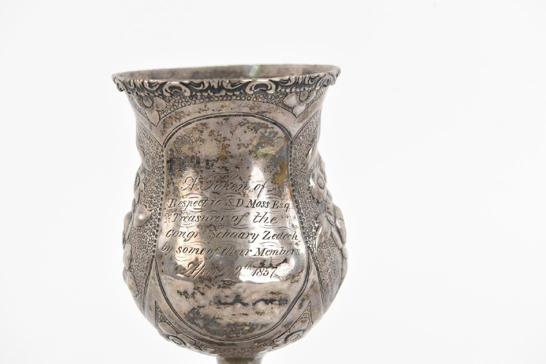 1857 EARLY AMERICAN SILVER KIDDUSH CUP JUDAICA - 2
