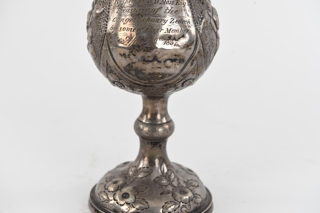 1857 EARLY AMERICAN SILVER KIDDUSH CUP JUDAICA - 3