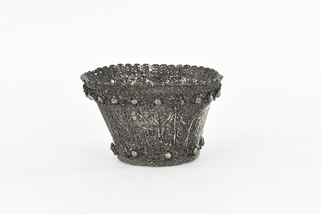 JUDAICA FILIGREE SILVER ETROG HOLDER