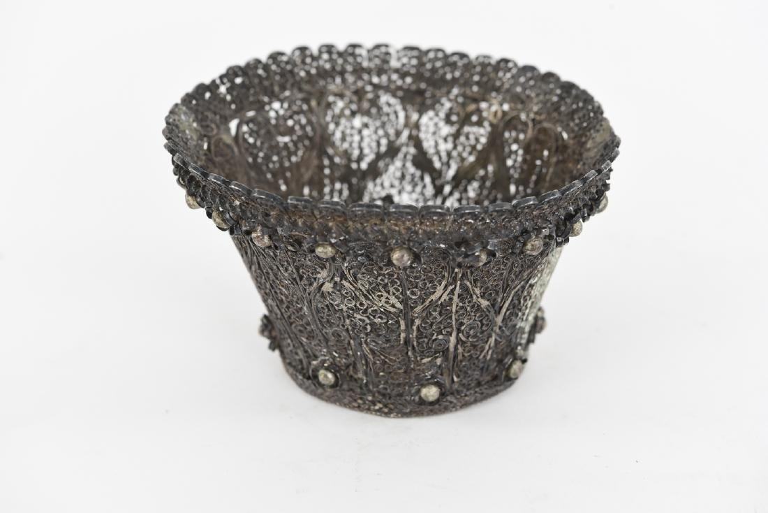 JUDAICA FILIGREE SILVER ETROG HOLDER - 2