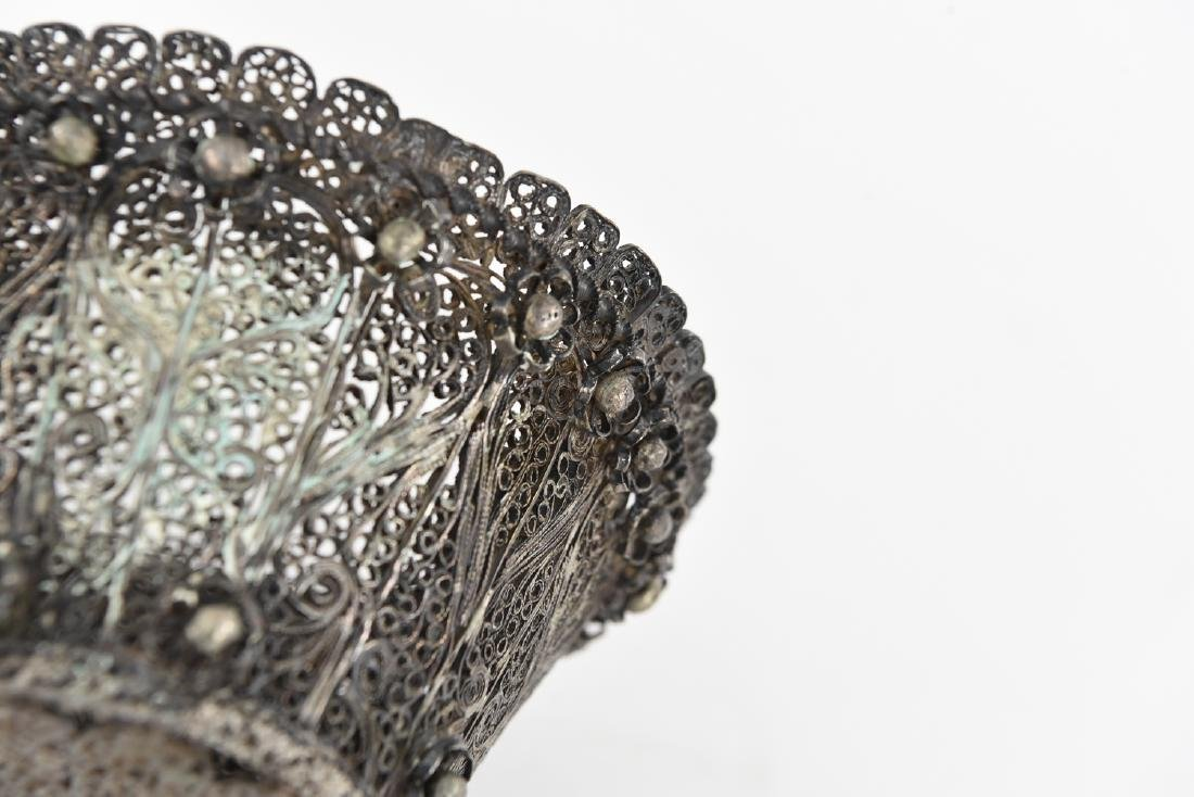 JUDAICA FILIGREE SILVER ETROG HOLDER - 5