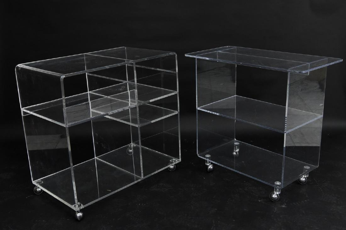 (2) LUCITE ROLLING CONSOLE SIDE TABLES