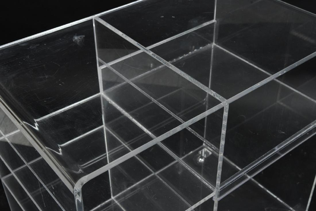 (2) LUCITE ROLLING CONSOLE SIDE TABLES - 2
