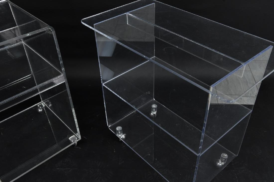 (2) LUCITE ROLLING CONSOLE SIDE TABLES - 4