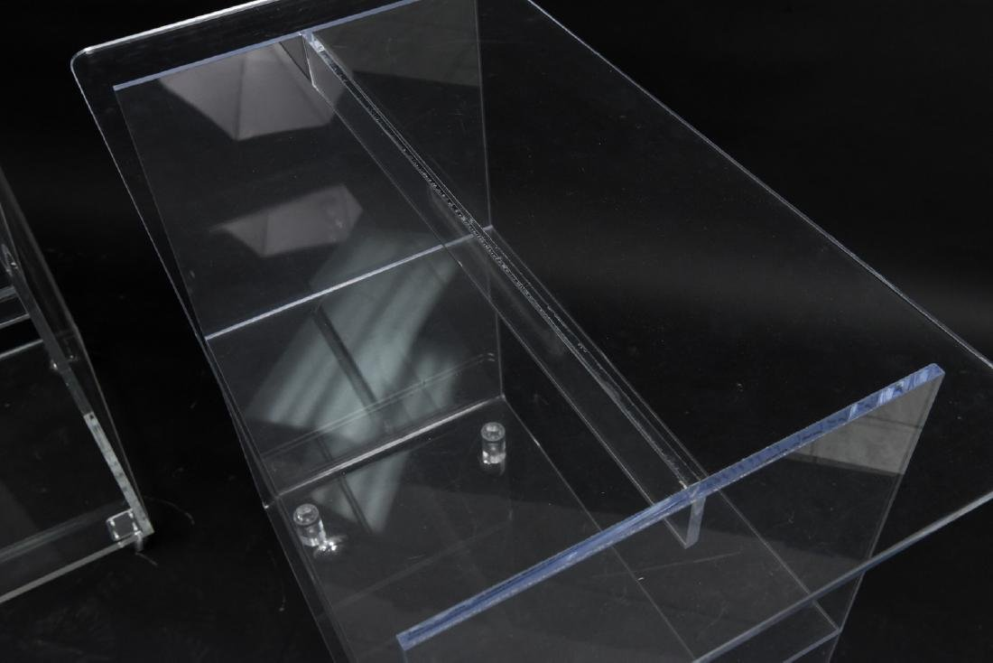 (2) LUCITE ROLLING CONSOLE SIDE TABLES - 5