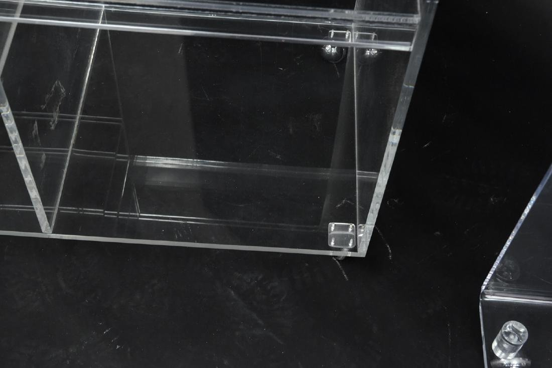 (2) LUCITE ROLLING CONSOLE SIDE TABLES - 6