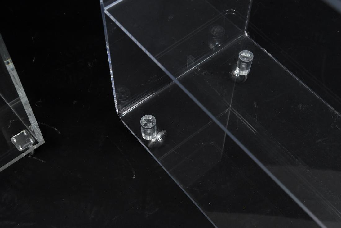 (2) LUCITE ROLLING CONSOLE SIDE TABLES - 7