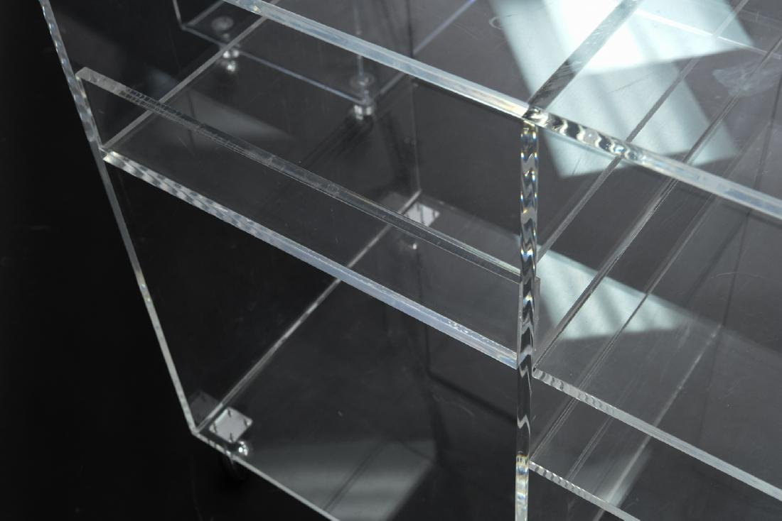 (2) LUCITE ROLLING CONSOLE SIDE TABLES - 8