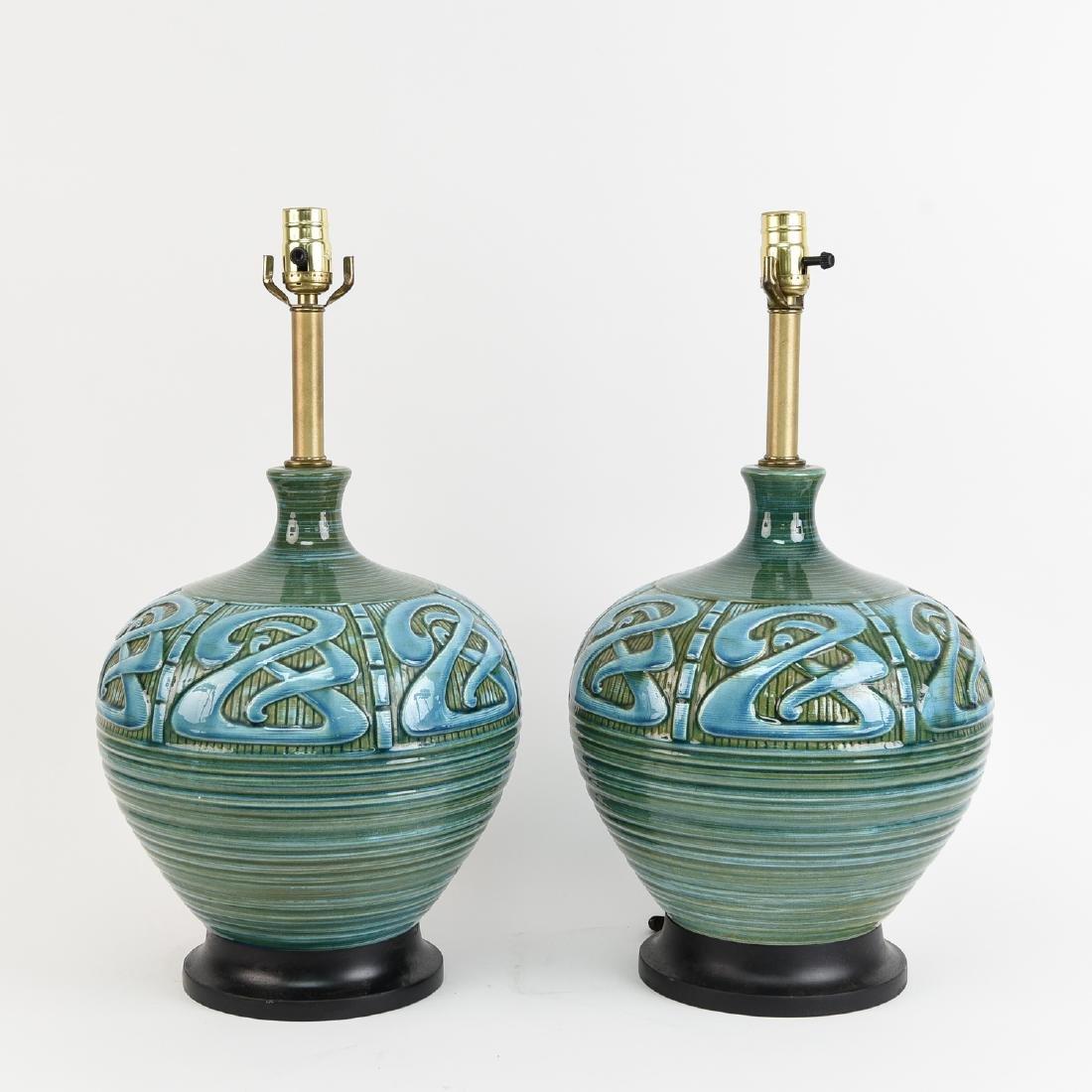 PAIR OF MID-CENTURY CERAMIC LAMPS