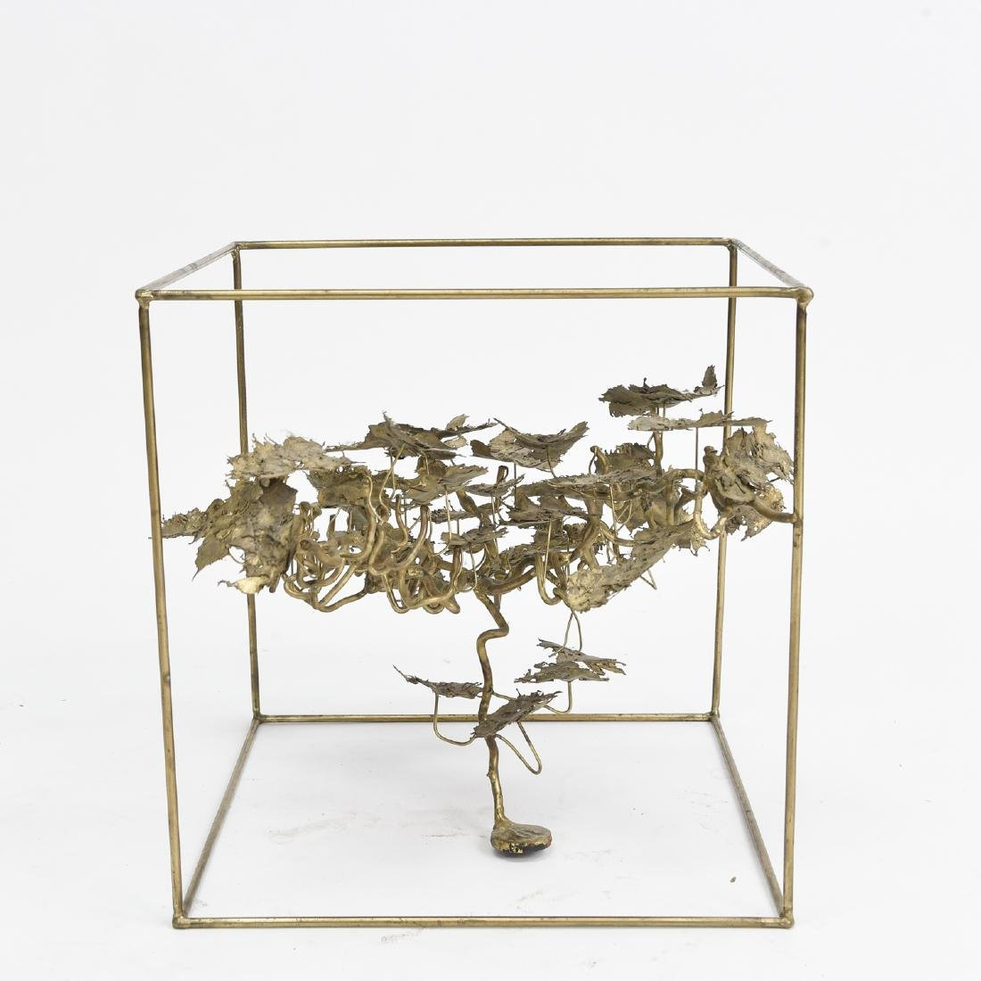 BRUTALIST BRASS FLOATING TREE SCULPTURE TABLE