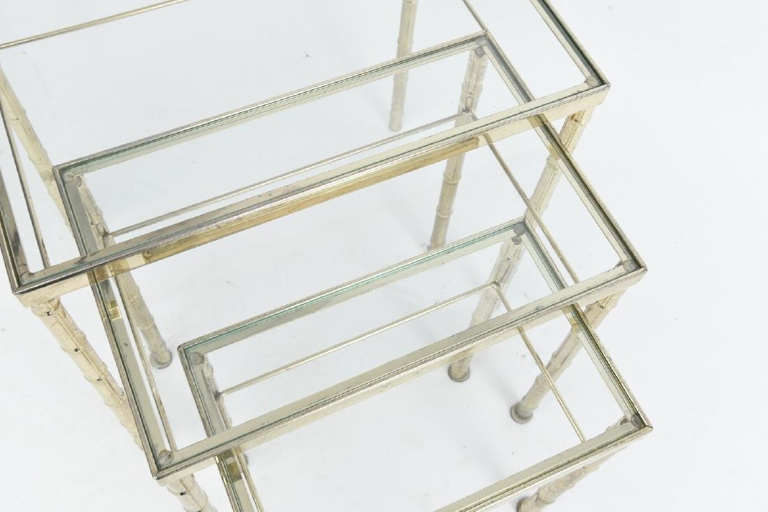 BRASS AND GLASS FAUX BAMBOO NESTING TABLES - 10