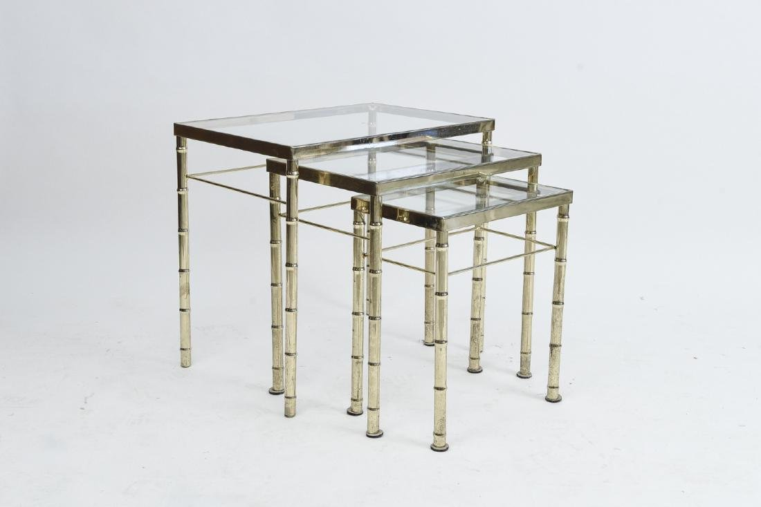 BRASS AND GLASS FAUX BAMBOO NESTING TABLES