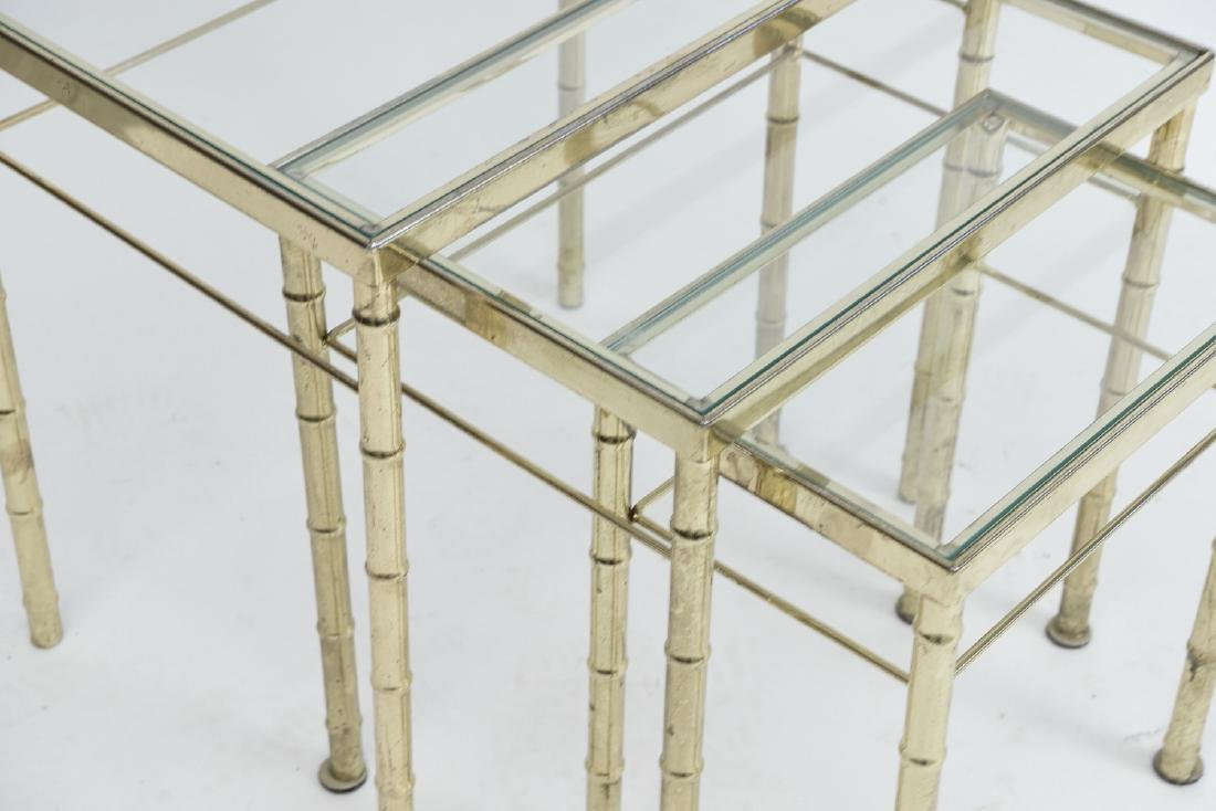 BRASS AND GLASS FAUX BAMBOO NESTING TABLES - 2