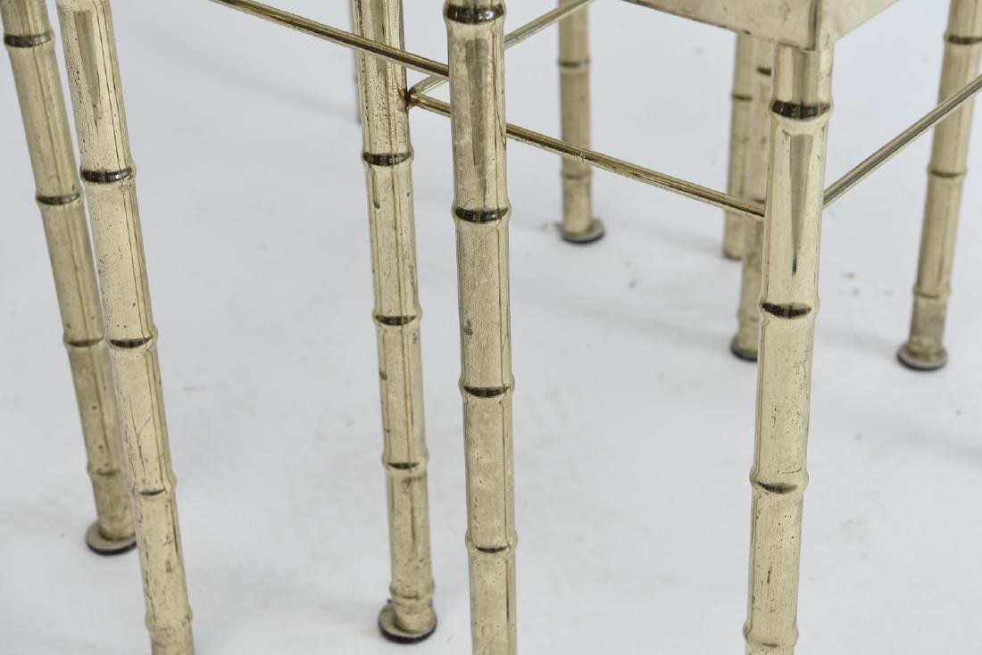 BRASS AND GLASS FAUX BAMBOO NESTING TABLES - 3
