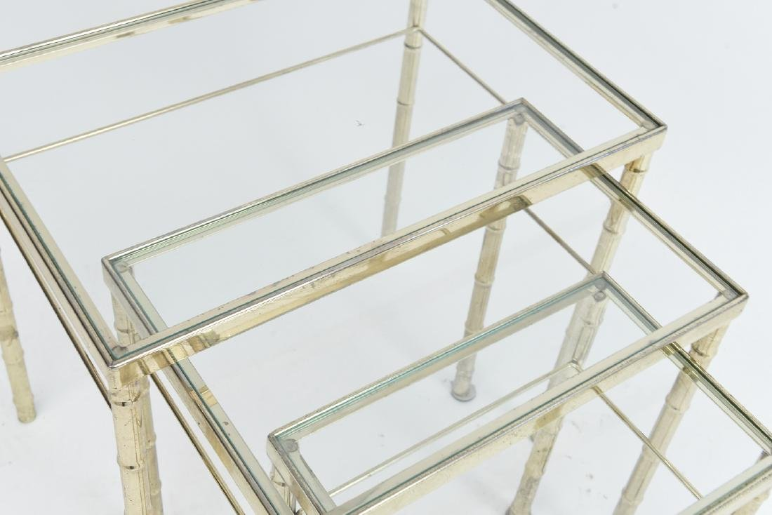BRASS AND GLASS FAUX BAMBOO NESTING TABLES - 4