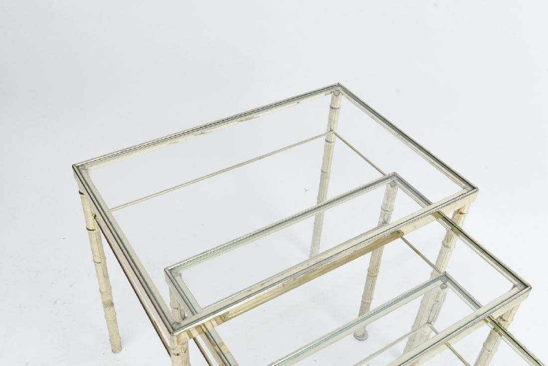 BRASS AND GLASS FAUX BAMBOO NESTING TABLES - 5