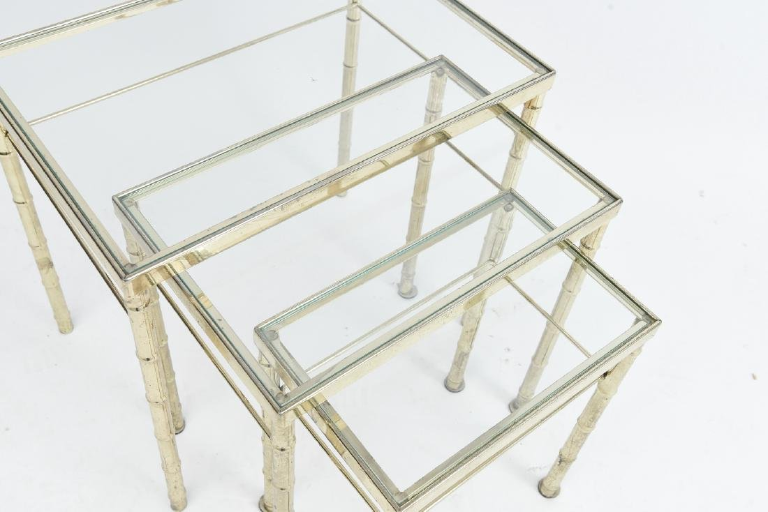 BRASS AND GLASS FAUX BAMBOO NESTING TABLES - 6