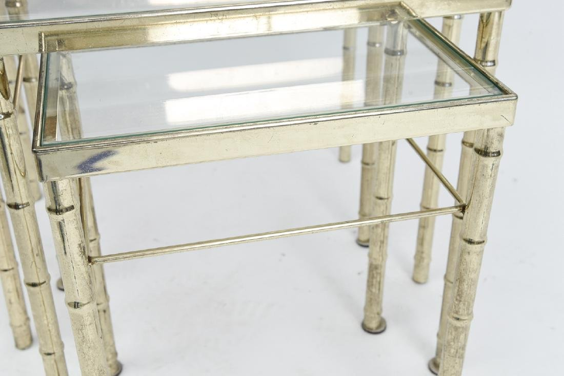 BRASS AND GLASS FAUX BAMBOO NESTING TABLES - 7