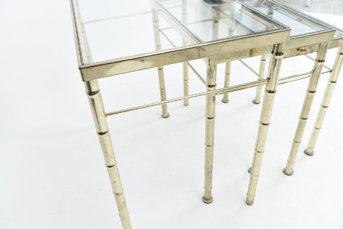 BRASS AND GLASS FAUX BAMBOO NESTING TABLES - 8
