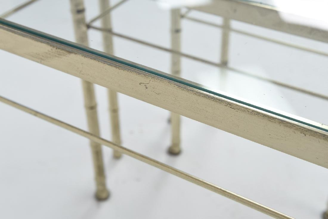BRASS AND GLASS FAUX BAMBOO NESTING TABLES - 9