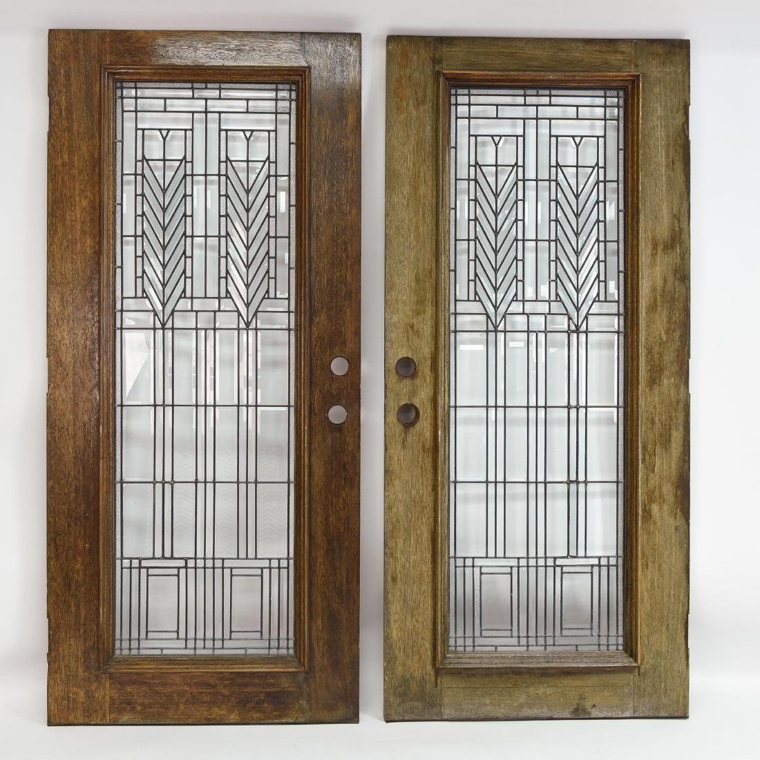 PAIR OF FRANK LLOYD WRIGHT STYLE DOORS