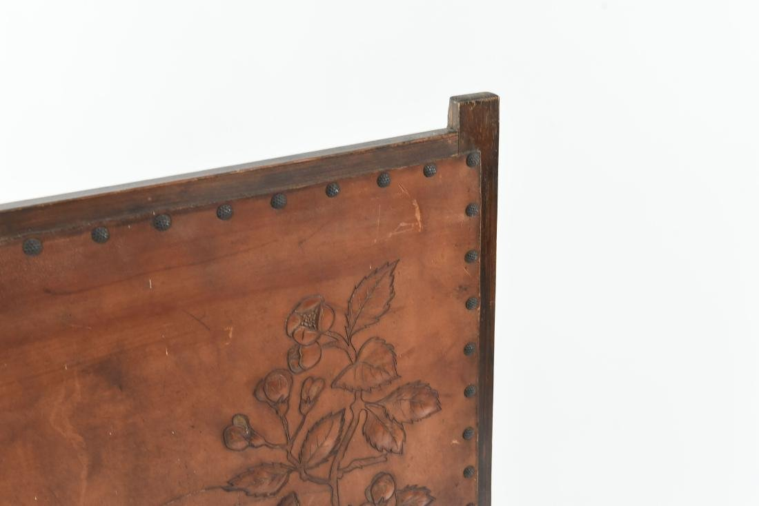 RARE ROYCROFT ARTS AND CRAFTS LEATHER FIRESCREEN - 11