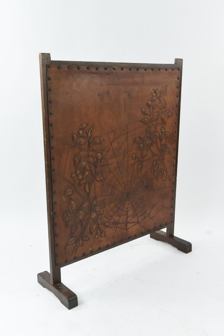 RARE ROYCROFT ARTS AND CRAFTS LEATHER FIRESCREEN