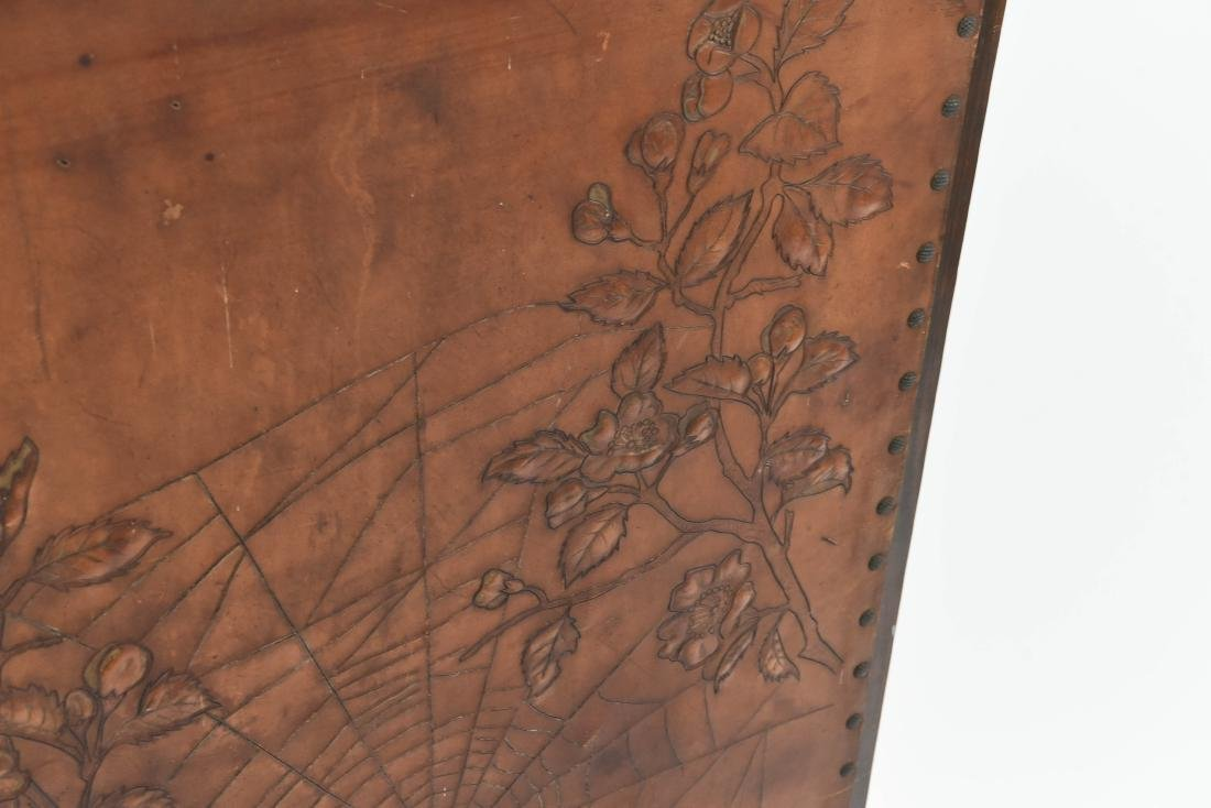 RARE ROYCROFT ARTS AND CRAFTS LEATHER FIRESCREEN - 3