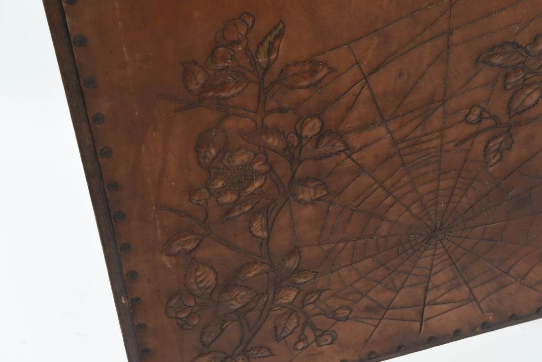 RARE ROYCROFT ARTS AND CRAFTS LEATHER FIRESCREEN - 4