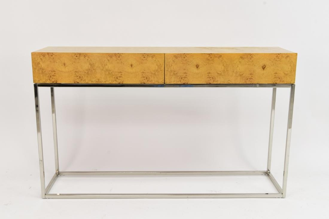 MILO BAUGHMAN STYLE BURL AND CHROME CONSOLE TABLE