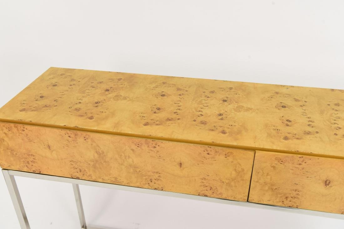 MILO BAUGHMAN STYLE BURL AND CHROME CONSOLE TABLE - 2