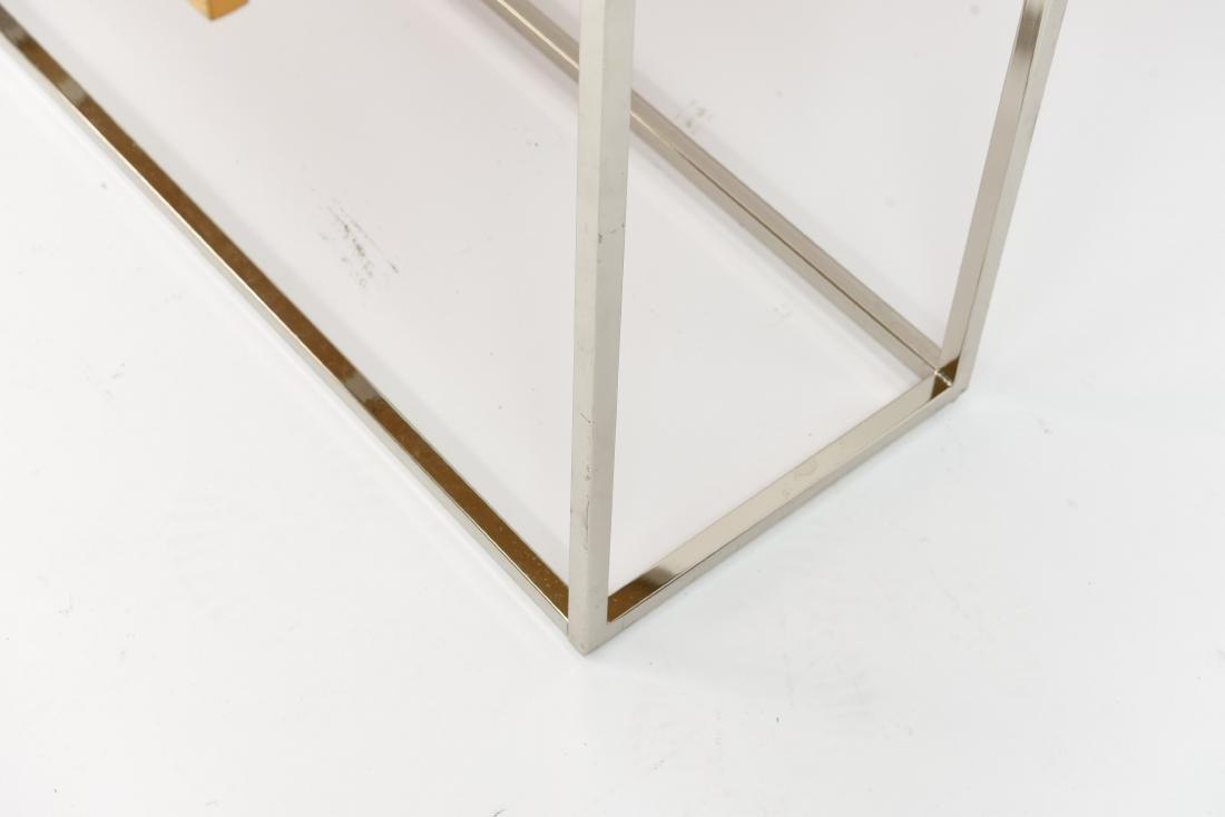 MILO BAUGHMAN STYLE BURL AND CHROME CONSOLE TABLE - 6