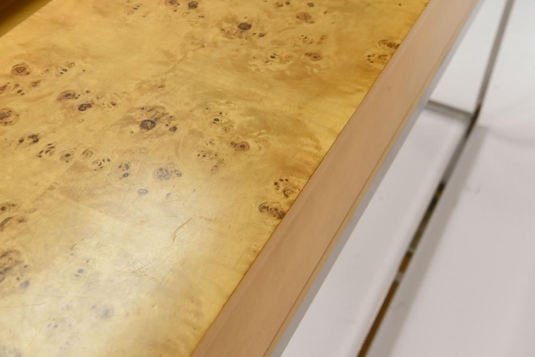 MILO BAUGHMAN STYLE BURL AND CHROME CONSOLE TABLE - 7